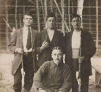 P.O.W. BELGIAN SOLDIERS WW1 GERMAN CAMP PHOTO ANTIQUE RPPC WAR POSTCARD