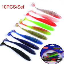 10pcs/set 8.5cm 2.4g Fishing Lures Worm Soft Silicone T Tail Swimming Bass Bait