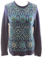 Vineyard Vines Wool Cashmere Blend Embellished Jewel Med Blue/green Sweater. NWT