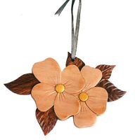 Dogwood - Double-sided Wood Intarsia Christmas Tree Ornament - Flower theme