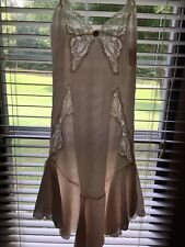 Vtg JCPenney Delicates Pale Pink Nightgown Size M Butterfly Lace Flounce Hem