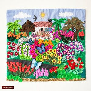 """Embroidered appliques of fabric, Peru Arpillera Wall Hanging floral 17.7""""x19.7"""""""