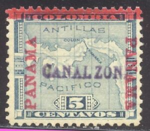 CANAL ZONE #2 Unused, Signed - 1904 5c Blue ($300)