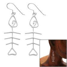 925 Sterling Silver Wire Fish Bone Design Dangling Hook Earrings