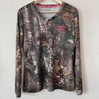 Women's Realtree Green Camouflage Shirt Top Size Large hunt sport dry more tech