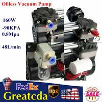 Oilless Vacuum Pump Oil Free -90KPA  48L/MIN Mute Lab Piston Pump 2-Stage 160W