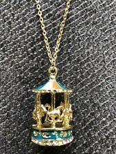 """horse carousel necklace 28"""" chain Gold tone fun gift idea mothers day gift #13"""