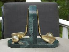Golf Brass & Marble Bookends EXC