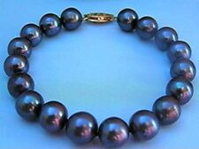 Natural 9-10MM TAHITIAN BLACK PEARL BRACELET 7.5INCH