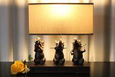 Lampe Nachttischlampe Leuchte Holz Keramik Tischlampe Tischleuchte braun beige 2