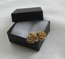 Handmade Gift Idea - Pretty Coffee Brown Caramel Flower Rose Stud Earrings - Box