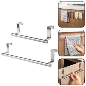 Stainless Steel Door Towel Hook Rack Cabinet Kitchen Storage Holder
