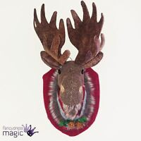 *Gisela Graham Fabric Dressed Moose Head Wall Mount Plaque Christmas Decoration*