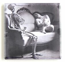 Nude Woman & Skeleton FRIDGE MAGNET (2 x 2 inches)