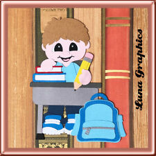 SCHOOL DAYS BOY AT DESK EMBELLISHMENT card toppers scrapbooking