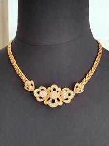 Gorgeous CHRISTIAN DIOR Crystals Necklace - Floral design - Signed 44cm