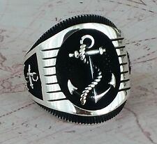 Anchor Solid 925 Sterling Silver Mens Ring No Gemstone HandMade AAA Quality