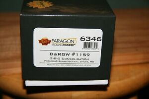 BLI  #6346 D&RGW 2-8-0 #1159 W/PGON 3 DCC/SOUND HO SCALE NEW RUN
