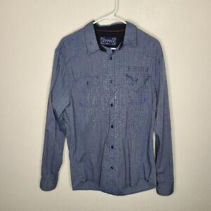 Tranquility Mayhem Men's Striped Blue Casual Long Sleeve Shirt Size L