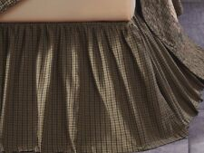 "Deep Green Country Plaid Bed Skirt Gathered Dust Ruffle 16"" Drop Tea Cabin"