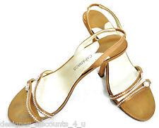 CAPARROS SATIN RHINESTONE high heels shoes open toe slingbacks sandals heel 7B