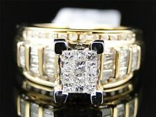 Ladies Yellow Gold Princess Cut Diamond Engagement Wedding Bridal Ring Set 1 Ct