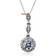 White Gold Plated Round Drop Wedding Necklace N264