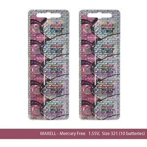 Maxell Hologram SR616SW 321 SR616 Silver Oxide Watch Batteries (10 Batteries)