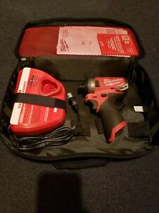 """Pre Owned- Milwaukee 2553-20 1/4"""" M12 FUEL Hex Impact Driver Tool, bag & charger"""