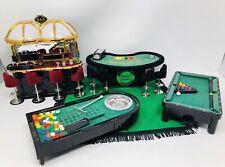 Royal Casino Miniature Blackjack, Roulette, Pool Table, Bar w/8 Stools, Chips+++