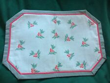 Vintage Laura Ashley Reversible Fabric Tablemat - Laurel Berries