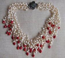 34c089c1a2fd 4 Hebras Blanco Perla y Coral Gem Collar Babero Cuello    .