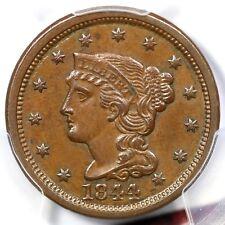 1844 N-5 PCGS AU 58 Braided Hair Large Cent Coin 1c