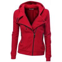 Women Sweater Jumper Hooded Hoodie Sweatshirt Coat Warm Zip Up Tops Jacket UK
