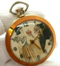"SNOW WHITE,70's,RARE! ""Poison Apple"" Wind-up,Character POCKET WATCH,384,L@@K"