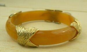 Vintage Honey Amber Bangle Bracelet Gold Tone Accents Hard Plastic Lucite