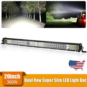 20inch LED Light Bar Dual Row Work Spot Flood Combo Driving Off Road 4WD ATV US