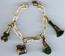 VINTAGE MARBLED GREEN BAKELITE INSTRUMENTS ON CELLULOID LINKS BRACELET