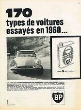 PUBLICITE ADVERTISING 104  1961   BP   huile visco-static  CITROEN DS