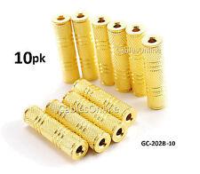 10-PACK 3.5mm Stereo Metal Barrel Connector F/F Coupler Gender Changer, Gold