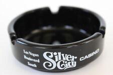 Black Glass Round Ashtray Las Vegas Slver Bird Silver Nugget Silver City Casinos