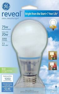 New GE Lighting 63509 Reveal Bright from the Start CFL 20-Watt Light Bulb 1PK