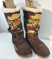 Ed Hardy Womens 8US 5.5UK 39EU Suede Brown Boots Dedicated to One I Love