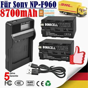 2× 8700mAh NP-F960 Ersatz Akku + LCD Ladegerät für Sony NP-F970 NP-F930 NP-F950