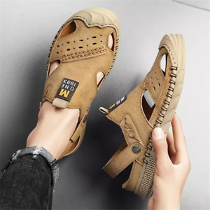 Men Soft Leather Light Sandals Slippers Flat Summer Outdoor Beach Casual Shoes