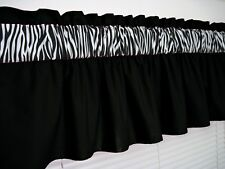 3 inch wide rod pocket ~ Solid Black and Zebra Valance Window Curtain Topper