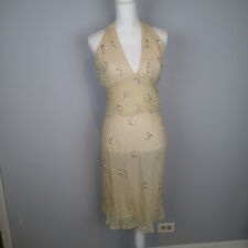 VERA WANG LAVENDER LABEL SILK DRESS CRINKLED halter beads sz 6/40 r7
