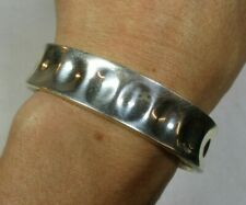 Vintage Mexico Dimpled Sterling Silver Cuff Bracelet 20g 6.75""