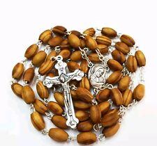 Olive Wood Catholic Rosary with Holy Land Earth / FREE JERUSALEM BOX & Booklet