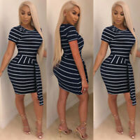 New Women Short Sleeve White Stripes Cotton Casual Club Party Bodycon Dress